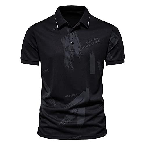 LSSM Camiseta De Verano para Hombre Camisa De Polo De Solapa De Manga Corta con Estampado De Letras Casuales A...