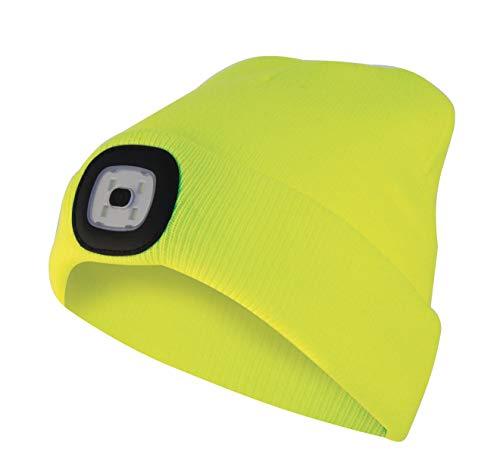 Velamp CAP07 Lighthouse Bonnet à LED rechargeable par USB, lumineux 100 lumen, taille unique, lavable, pour le sport et le travail, Jaune Fluo