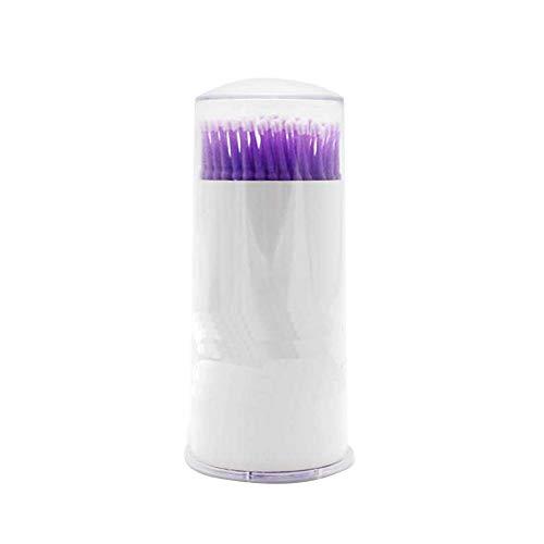 Packung von 100Pcs Biegsame Micro Applikatorbürsten Tupfer Wands Micro Tip Applikatoren Mascara-Bürste für Wimpern Extensions-Verfassungs-Kosmetik-Werkzeug (lila S)