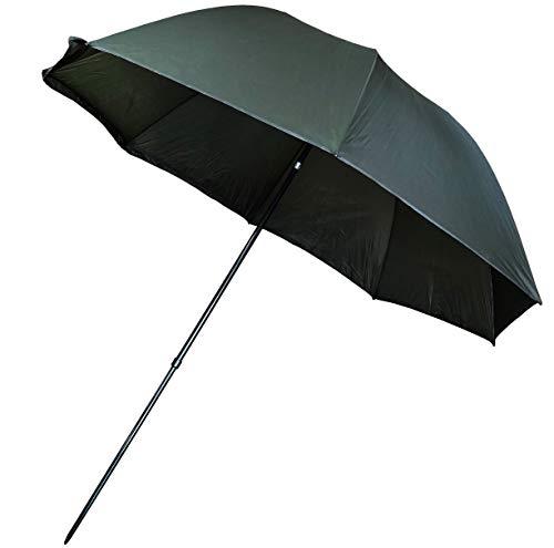 KINGCARP - Umbrella 2.5m Round Tilting Waterproof 190T Fabric Dark Green Fishing Brolly with Adjustable Height [25-1241]