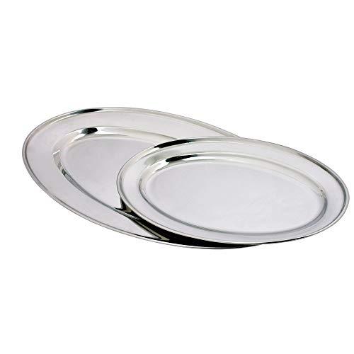 Kosma Set di 2 vassoi ovali in acciaio inox | Vassoio da portata | Piatto | 50 cm perfetto per regali di Natale
