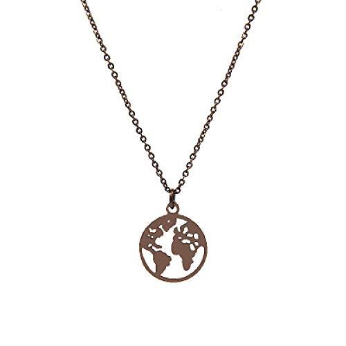 n a Schmuck Frauen Edelstahl Herz Globus Welt Karte Anhänger Halsketten Outdoor Travel Erde Halsketten Farbe Kaffee
