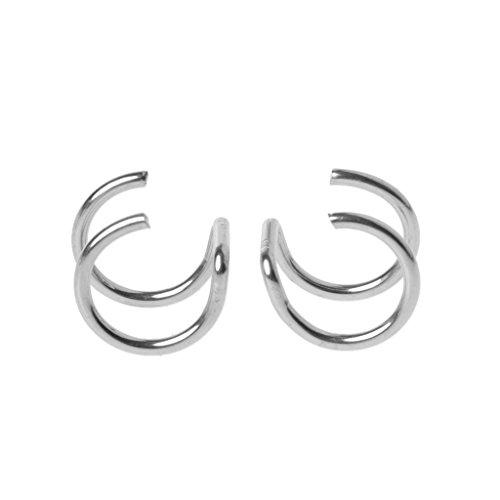 Haptian Oorbel Set, Titanium 2 Ringen Oormanchet Clips Op Helix Kraakbeen Ring Geen Piercing Lichaam Sieraden Zilver