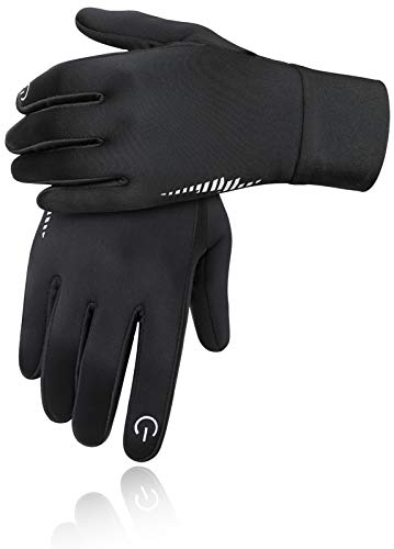 Aoliks Winter Gloves for Men Women Touchscreen Non-Slip Gloves Warm Thermal Soft Waterproof Windproof Gloves for Workout Running Cycling Riding Outdoor Sports (Black, Small)
