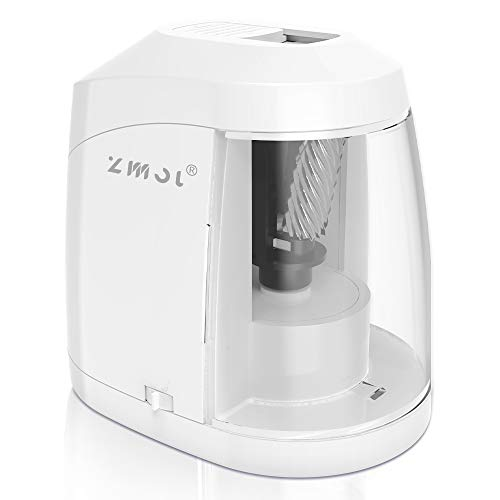 Electric Pencil Sharpener Durable Helical Blade to Fast Sharpen Auto Stop for No2/Colored Pencils68mm USB/Battery Operated in School Classroom/Office/Home WHITE