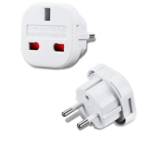 Incutex 1x UK zu EU Adapter Reiseadapter UK auf DE Reisestecker UK auf DE Netzadapter UK 3-Pin auf Euro 2-Pin Typ E, weiß