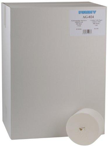 Funny Kernloos toiletpapier, voor merkloze dispensersystemen, 2-laags, 900 vellen, hoogwit, 1 stuks (1 x 36 stuks)