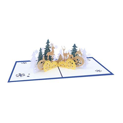 Amosfun 3D Pop Up Kerstkaarten Winter Vakantie Wenskaart Handgemaakte Wenskaarten Assortiment Voor Vakantie