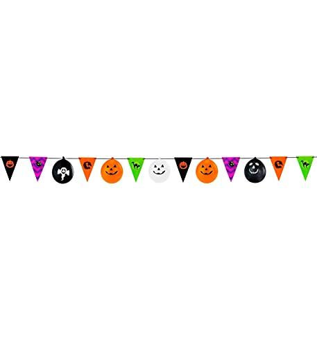 Luxuspiraten - Bunte Halloween Girlande mit 8 Flaggen & 5 Ballons, 360 cm, ideal für Jede Halloween Party, Mehrfarbig