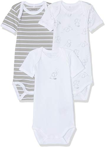 NAME IT NAME IT Unisex Baby Strampler NBNBODY 3P SS NOOS, 3er Pack, Mehrfarbig (Alloy), 50