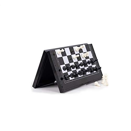 Juego de Ajedrez Juego de ajedrez de viaje magnético Juego de entretenimiento de ajedrez internacional con tablero de ajedrez plegable juguetes educativos Ajedrez y Damas ( Color : Black and white )