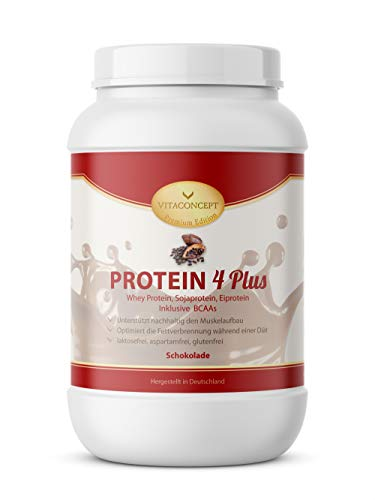 PROTEIN PULVER 4 PLUS I 1kg Proteinpulver I Whey Protein - Sojaprotein inkl. BCAA I Made in Germany von VITACONCEPT Schokolade