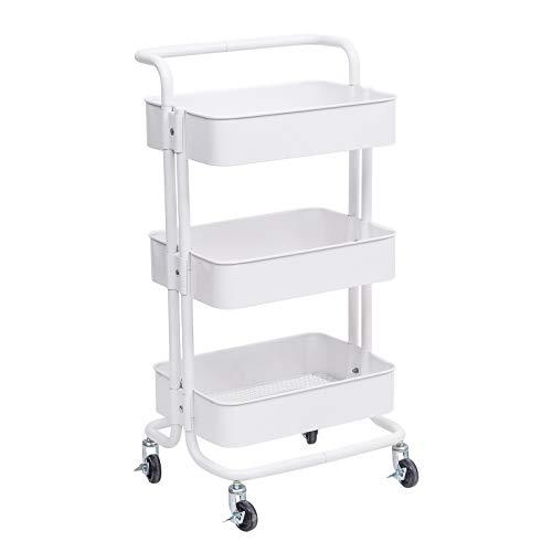 WOLTU Küchenwagen Rollwagen Servierwagen Küchentrolley mit Griff Metall Roll Regal für Küche Bad Büro mit Rollen 3 Etagen Weiß RW004ws