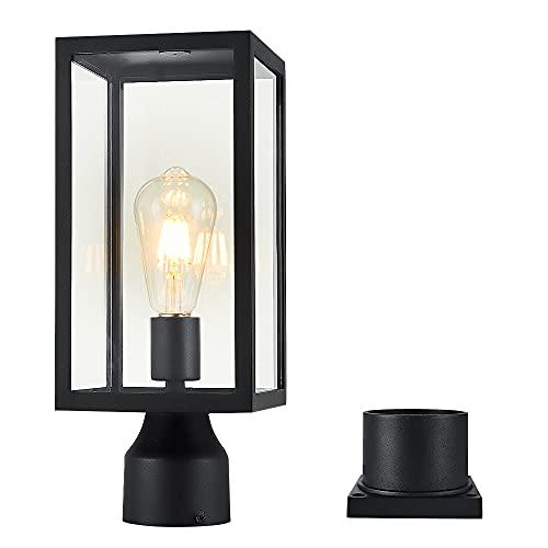 Windben Outdoor Post Light,Lamp Post Light Fixture,Post Lantern with Pier Mount Base,Matte Black