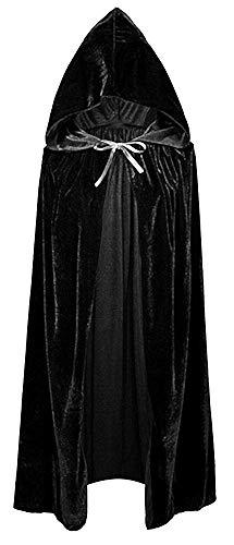 Capa negra con capucha - larga - adultos - chenilla - terciopelo - drcula - vampiro - disfraz - nosferatu - halloween - carnaval - hombre - hombre - cosplay - mujer - mujer - idea de regalo