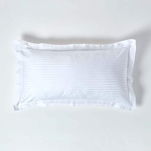 HOMESCAPES – Taie d'Oreiller rectangulaire Blanc 50 x 90 cm – Volant Plat Oxford – 330 Fils