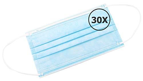 TBOC Mascarilla Higiénica No Reutilizable -  [Pack 30 Unidades] Máscara 3 Capas [Azul] Ligera Suave y Transpirable [Desechables] con Pinza Nasal Protección Facial [Alta Filtración]