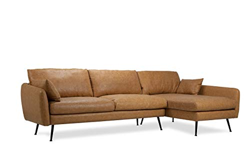 ALBANY PARK Park 114' Mid-Century Modern Sofa Sectional, Right Facing, Tan Vegan Leather