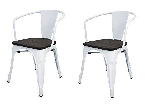 La Silla Española - Set mit 2 Stühlen im Tolix-Stil mit Rückenlehne, Armlehnen und Sitzfläche in Holzoptik. Farbe Weiß. Maße 73 x 53,5 x 52 cm.