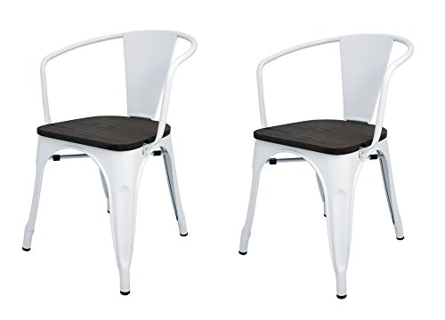 Pack 2 Sillas estilo Tolix con respaldo, reposabrazos y asiento acabado en madera. Color Blanco. Medidas 73x53,5x52