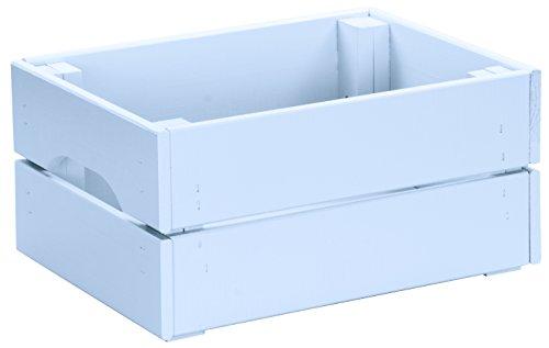 LAUBLUST - Kiste aus 100{4c6a3da13ebee6a36af7d35b3eab270ebc1b07ad353bb7cd4413e8a37f6ee060} Massivholz in Größe M - Kiefer Blau ca. 31 x 23 x 15 cm - Holzkiste zur Aufbewahrung und Dekoration