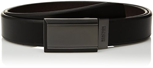 Kenneth Cole REACTION Men's Reversible Plaque Buckle Belt, Black/Brown, 34