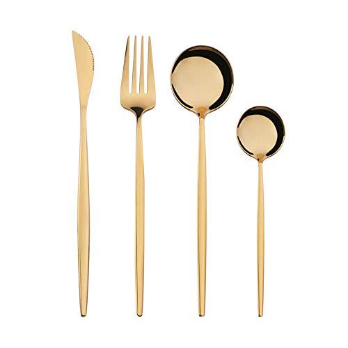 OUDEING Casa Vajillas Conjuntos de Cubiertos de 24 Piezas, 6 x Tenedores y 6 x Cuchillos de Cena y 6 x cucharas de Cena, 6 x cucharaditas, Fino Pulido-Golden 32pcs