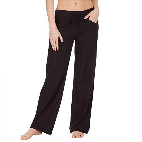 Style It Up Damen-Leinenhose, Sommer, Freizeit, Urlaub, Strand, Chino Khaki Gr. 48, Schwarz