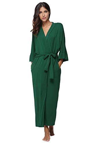 Women's Long Robes Soft Bathrobes Loungewear Sleepwear Robes,Dark Green