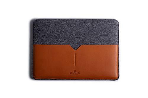 Macbook Classic Leather Sleeve Handmade Case and Wool Felt Cover - Macbook 12'