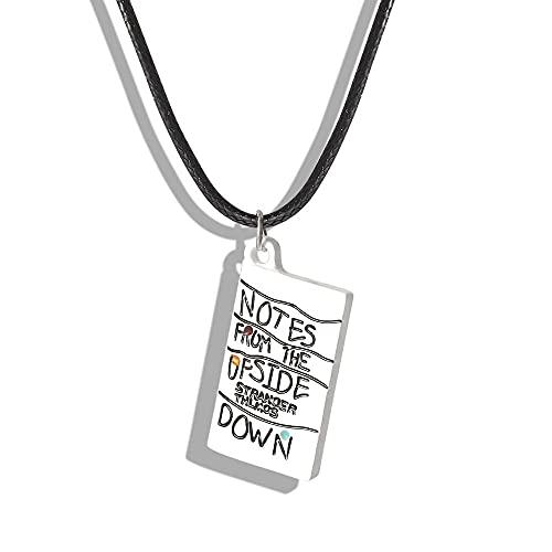 WYFLL Choses Étranges Collier Blanc Collier À l'envers Carnet De Notes Pendentif Corde Chaîne Collier Femme Homme Bijoux Cadeau Accessoires Décoration