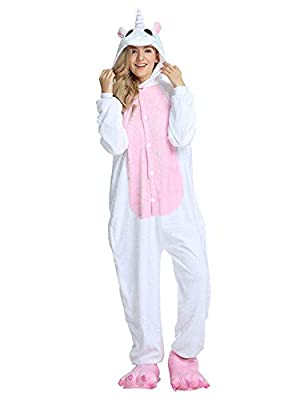 Pijama de animales, disfraz Cosplay Carnaval Halloween Disfraces Unisex Pijama entero Unicornio Panda pingüino Unicornio-rosa XL