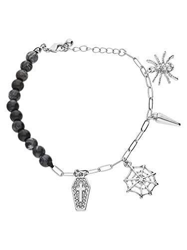 SIX Pulsera de cuentas de estilo gótico con diamantes de imitación y diseño de araña para mujer (613-901)