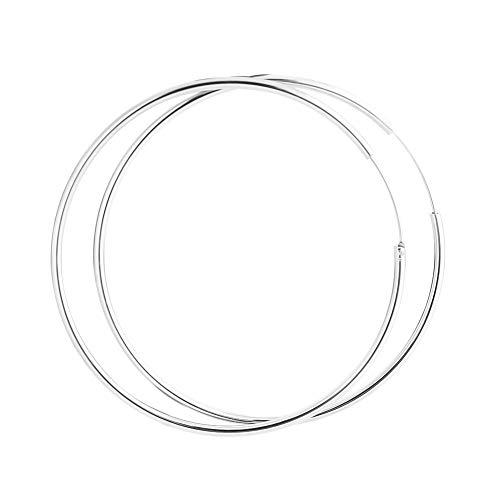 SUSSURRO Jewelers 925 Sterling Silber Creolen groß Polierte Runde Kreis Endless Ohrringe für Damen Valentinstag Geschenk