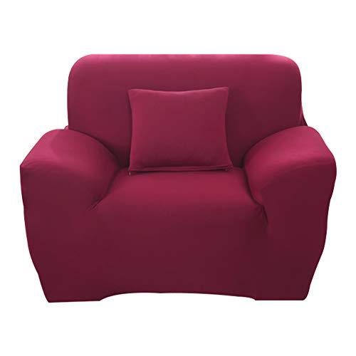 Hotniu 1-Stück Elastisch Sofaüberwurf Sesselbezug, Sofaüberzug Polyester, Sofahusse Sesselhusse Stretch, Sofabezug für Sofa, Couch, Sessel zum Schutz, mehrere Farben (1 Sitzer 90-130cm, Weinrot)