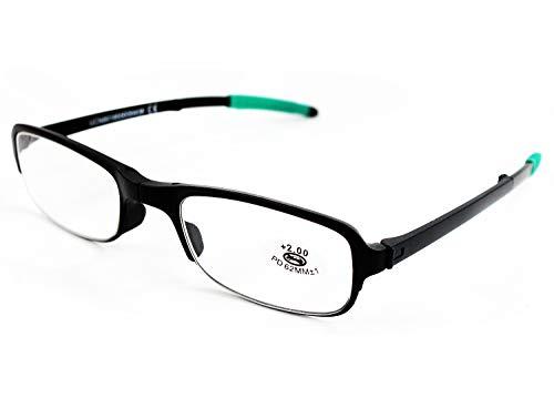 Klappbare Lesebrille Vista Cansada Presbicia, Dioptrien Graduierung +1.00 bis +4.00, Brille für Damen und Herren Unisex mit Feinrahmen, Scharniere Standard, für Lesen, Zaun 1.5 x grün