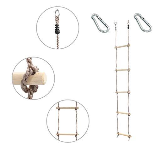H2i, 1 stuk kindergebreide ladder, klimladder, 180 cm, 5 sporten, met karabijnhaak om op te hangen.
