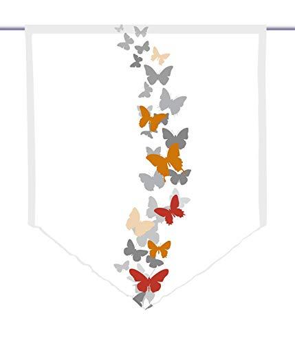 gardinen-for-life Scheibenhänger spitz Papalone Pfeffer Mixed, Voile Transparent, Edler Scheibenhänger aus Feiner Voile in Verschiedenen Größen (HxB 100x90cm)