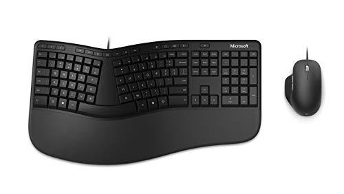 Microsoft Ergonomic Desktop (Set mit Maus und Tastatur, deutsches QWERTZ Tastaturlayout, schwarz, ergonomisch, kabelgebunden)
