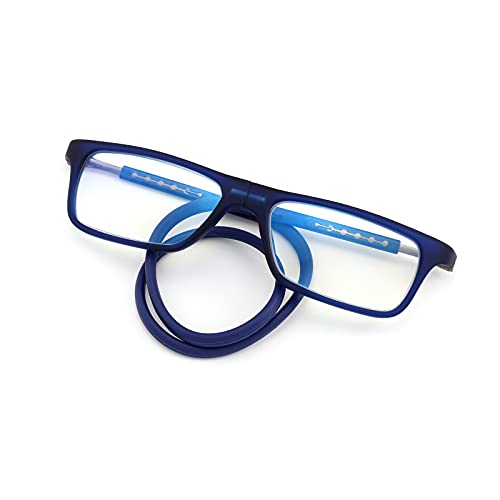 Magnetic Reading Glasses for Men Women Blue Light Blocking Readers Adjustable Arms Soft Silicone Headband Blue 1.00