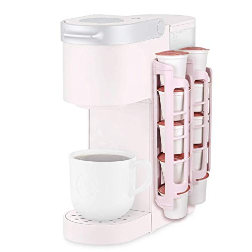 k cup storage solutions STORAGENIE Coffee Pod Holder for Keurig K-cup, Side Mount K Cup Storage, Perfect for Small Counters (2 Rows/For 10 K Cups, PINK)