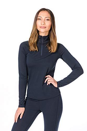 Super.natural Tee-shirt Manches Longues pour Femmes, Laine mérinos, W BASE 1/4 ZIP 175, Taille: S, Couleur: Bleu foncé