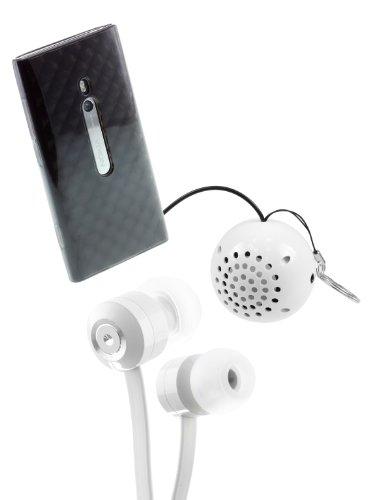 Kit - Custodia in TPU per Nokia Lumia 800, con mini altoparlante e auricolari a nastro KitSound con microfono, colore: Trasparente/Bianco