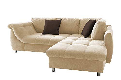 lifestyle4living Ecksofa mit Schlaffunktion und Bettkasten in Creme mit großen Rücken-Kissen, Microfaser-Stoff | Gemütliches L-Sofa mit Longchair im modernen Look
