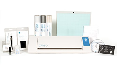 Silhouette Cameo II with Glass Etching Cream, 2 Full Rolls of Vinyl, Transfer Paper, Tools, and More