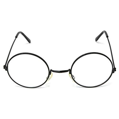 Skeleteen Round Wizard Costume Glasses - Black Metal Frame Circular Costume Eyeglasses - 1 Pair