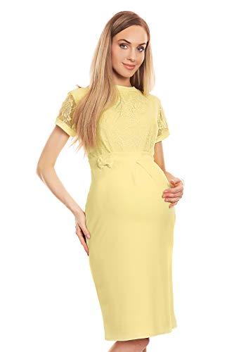 Selente Mummy Love 0127 festliches Umstandskleid (Made in EU) Schwangerschaftskleid, mit Spitze Gelb, Gr. L/XL