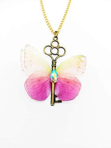 Antike Halskette mit Schlüsselanhänger und rosa Schmetterling