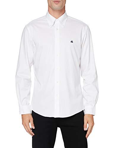 Brooks Brothers Herren SPT Ml NI Stretch Pinpoint Solid Regent Freizeithemd, Weiß (White 100), Small (Herstellergröße: S-)