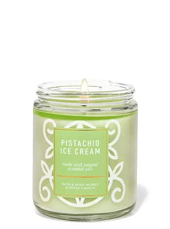 Bath and Body Works, White Barn 1-Wick Candle w/Essential Oils - 7 oz - 2021 Fresh Spring Scents! (Pistachio Ice Cream)